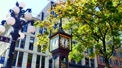 4K Steam Rising from Gastown Steam Clock, Vancouver BC Landmark, Canada Stock Footage