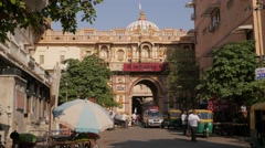 Entrance gate to Swaminarayan hindu temple,Ahmedabad,India Stock Footage