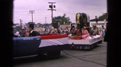 1963: republican parade featuring elephant and posters of past presidents Stock Footage
