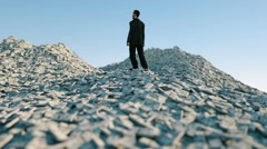 Man and a lot of money. million dollar cash. dollar mountain. Financial concept Stock Footage