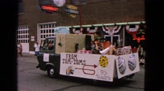 1963: a makeshift chariot moves pompous and garishly in a popular festival Stock Footage