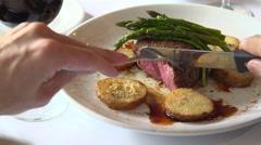 Slice of steak being eaten at dinner Stock Footage