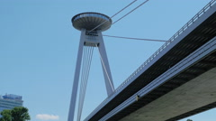 Wonderful view of UFO bridge in Bratislava Stock Footage