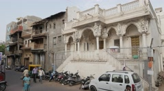 Beautiful white building in old town,Ahmedabad,India Stock Footage