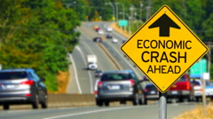 4K Economic Crash Ahead, Yellow Diamond Sign, Seamless Looping Stock Footage