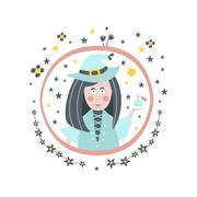 Witch Fairy Tale Character Girly Sticker In Round Frame Stock Illustration