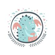 Chubby Dragon Fairy Tale Character Girly Sticker In Round Frame Stock Illustration