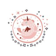 Pegasus Fairy Tale Character Girly Sticker In Round Frame Stock Illustration
