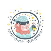 Gnome Fairy Tale Character Girly Sticker In Round Frame Stock Illustration