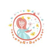 Crowned Princess Fairy Tale Character Girly Sticker In Round Frame Stock Illustration