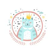 King Cat Fairy Tale Character Girly Sticker In Round Frame Stock Illustration