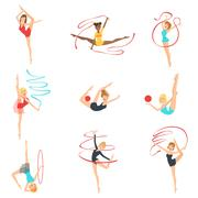 Rhythmic Gymnasts Training With Different Apparatus Stock Illustration