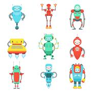 Different Cute Fantastic Robots Characters Set Stock Illustration
