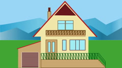 House building. Animated house construction in countryside with mountains. Stock Footage