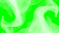 2 waves of white smoke on green screen - compositing element Stock Footage