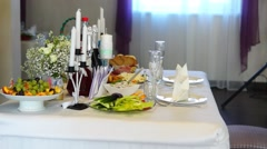 Festive table in restaraunt Stock Footage