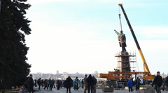 Preparing to remove a large 20-meter monument to communist leader Vladimir Lenin Stock Footage