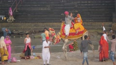 Indian couple have fun on back of camel,Dwarka,India Stock Footage