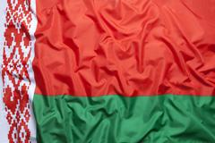 Textile flag of Belarus Stock Photos