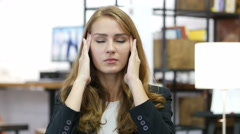 Headache, Work Overload, Stressed Girl at Work in Office Stock Footage