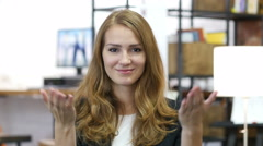 Invitation Gesture by Girl at Work in Office, Come On Stock Footage