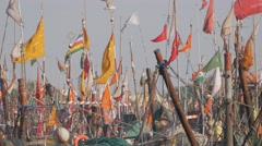 Flags on fishermen boats in harbour,Porbandar,India Stock Footage