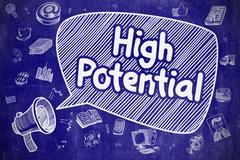 High Potential - Cartoon Illustration on Blue Chalkboard Stock Illustration