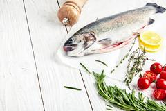 Raw trout, rosemary, tomatoes, lemon, thyme Stock Photos