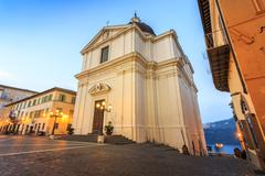 Main square in Castel Gandolfo, pope's summer residency, Italy Stock Photos
