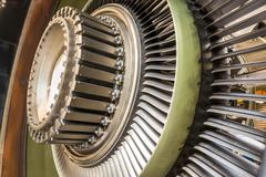 Blades in an airplane engine Stock Photos