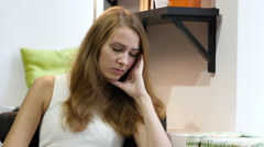 Beautiful Girl Sleeping at Work, Sitting tired Stock Footage