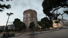 White Tower of Thessaloniki, timelapse Stock Footage
