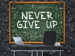 Never Give Up Concept. Doodle Icons on Chalkboard. 3D Render Stock Illustration
