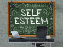 Self Esteem - Hand Drawn on Green Chalkboard. 3D Render Stock Illustration