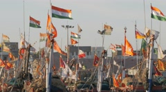 Fishermen boats flags in harbour,Veraval,India Stock Footage