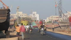 Busy road in harbour street,Veraval,India Stock Footage