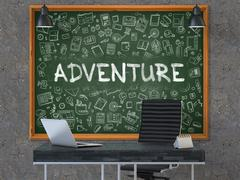 Adventure - Hand Drawn on Green Chalkboard. 3D Render Stock Illustration