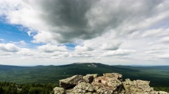The clouds over the peaks. Panorama. TimeLapse, South Urals, Russia. UltraHD 4K Stock Footage