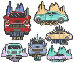 Vector colorful set of retro car club logos, banners, badges, labels or emblems Stock Illustration