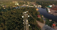 4K - Telecommunications tower above the town Stock Footage