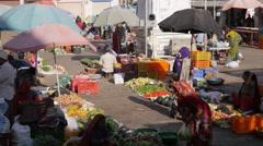 Vegetable market on square,Diu,India Stock Footage