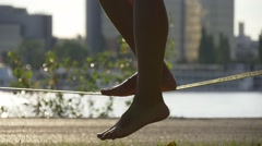 Balance on a tightrope Stock Footage