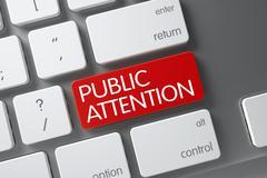 Red Public Attention Key on Keyboard. 3D Render Stock Illustration