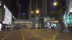 Night streets of Hong Kong, moving bus, tram, cars Stock Footage