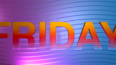 Friday motion graphic title Stock Footage