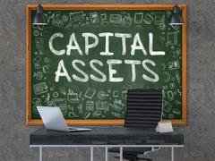 Capital Assets on Chalkboard in the Office. 3D Render Stock Illustration