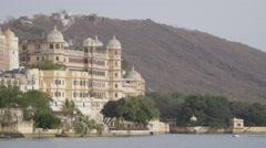 City palace museum at lake Pichola,Udaipur,India Stock Footage