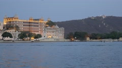 City palace with lights and hill,Udaipur,India Stock Footage