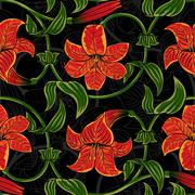 Vector seamless pattern with lily flowers on dark background. tropical summer Stock Illustration