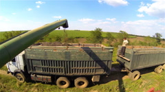 Kherson, Ukraine - September 16, 2016: Combine harvester load sunflower seeds in Stock Footage